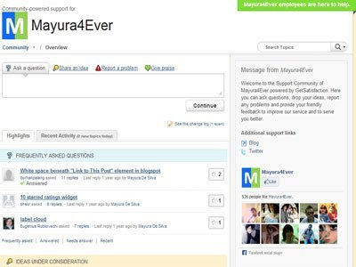 Blogger Mayura Support Center