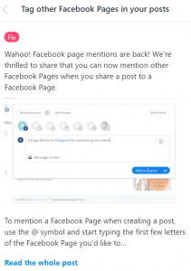 facebook page with buffer app