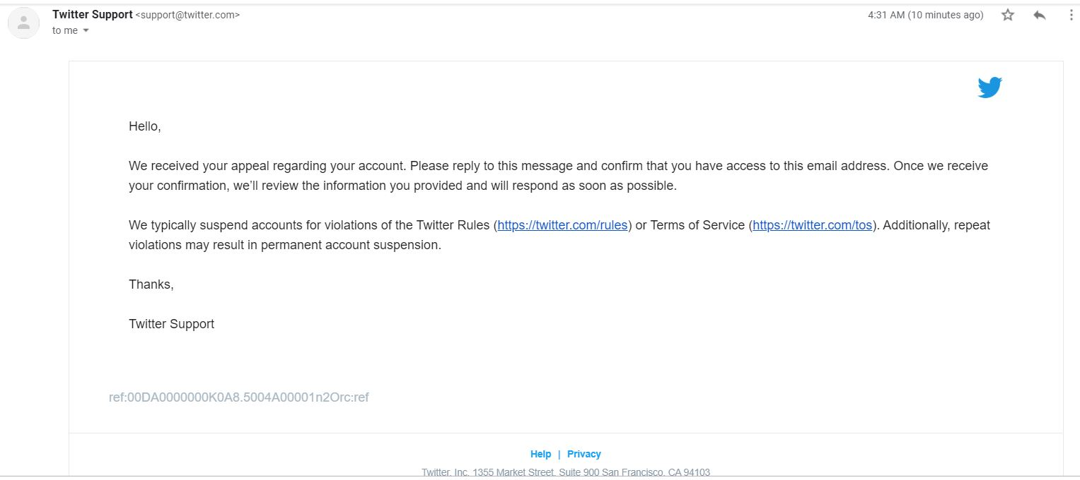 email from Twitter on suspension