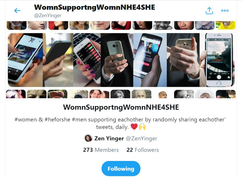 women supporting others Twitter list